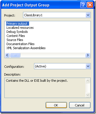 Add Project Output Dialog
