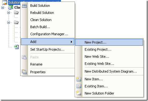 Context Menu for Adding new project to solution